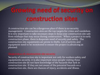 Growing need of security on construction sites