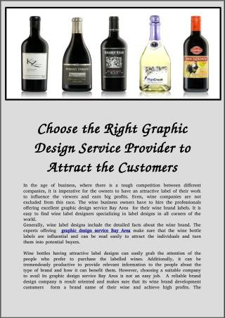 Choose the Right Graphic Design Service Provider to Attract the Customers