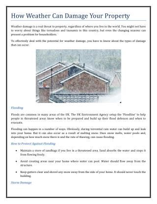 How Weather Can Damage Your Property