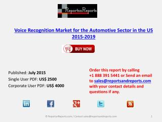 Voice Recognition Market for the Automotive Sector in the US 2015-2019