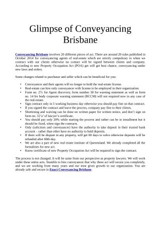 Glimpse of conveyancing brisbane