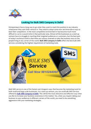 Looking for Bulk SMS Company in Delhi?