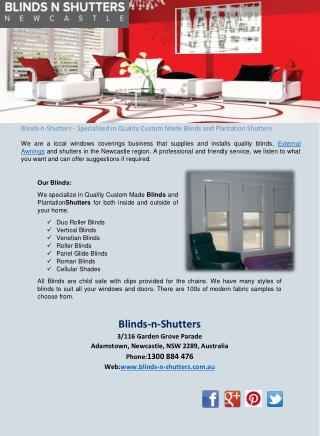 Blinds-n-Shutters - Specialised in Quality Custom Made Blinds and Plantation Shutters