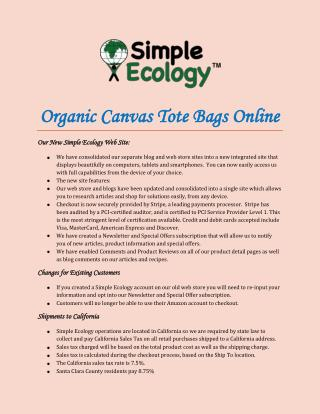 Organic Canvas Tote Bags Online