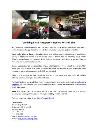 Wedding Party Singapore – Explore Related Tips