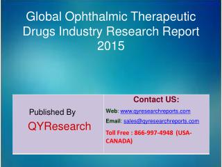 Global Ophthalmic Therapeutic Drugs Market 2015 Industry Analysis, Forecasts, Study, Research, Outlook, Shares, Insights
