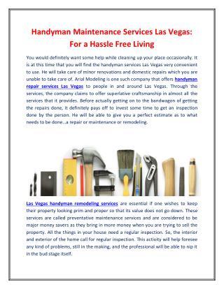 Handyman Maintenance Services Las Vegas: For a Hassle Free Living