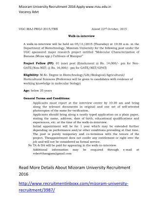 Mizoram University Recruitment 2016 Apply Www.mzu.Edu.in Vacancy Advt