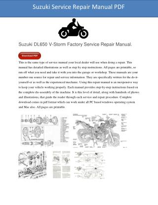 Suzuki DL650 V-Storm Factory Service Repair Manual