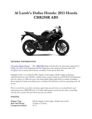 Al Lamb's Dallas Honda: 2013 Honda CBR250R ABS