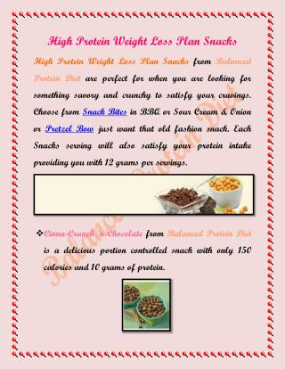 High Protein Weight Loss Plan Snacks