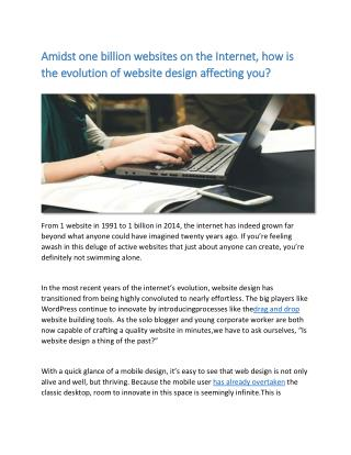 Amidst one billion websites on the Internet, how is the evolution of website design affecting you?