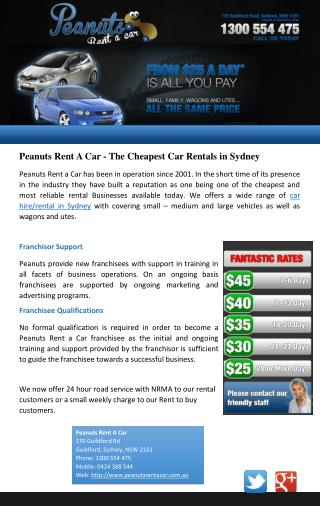 Peanuts Rent A Car - The Cheapest Car Rentals in Sydney