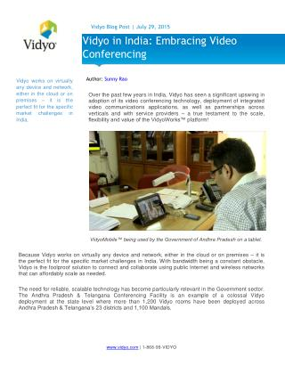 Vidyo in India: Embracing Video Conferencing