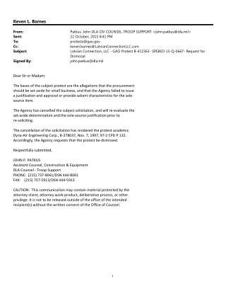 Blog 131 B-411363  GAO Protest Win By Latvian Against John Patkus DLA CIV Counsel- DLA SPE8D-15-Q-0667 Violation Of Smal