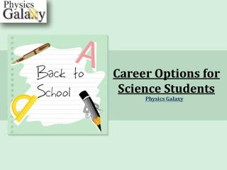 Career Options for Science Students