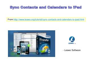 Sync contacts and calendars to ipad