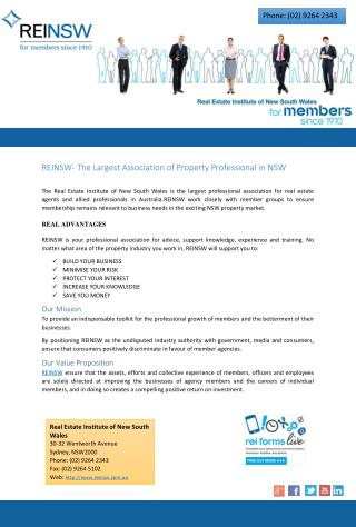 REINSW- The Largest Association of Property Professional in NSW