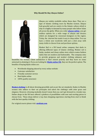 Why Should We Buy Abayas Online?