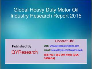 Global Heavy Duty Motor Oil Market 2015 Industry Growth, Trends, Analysis, Research and Development