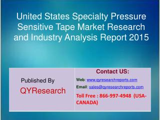 United States Specialty Pressure Sensitive Tape Market 2015 Industry Forecasts, Analysis, Applications, Research, Study,