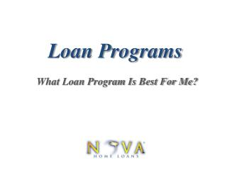 Loan Programs | Nova Home Loans