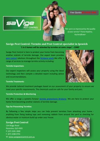 Savige Pest Control: Termite and Pest Control specialist in Ipswich