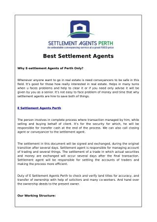 Best settlement agents