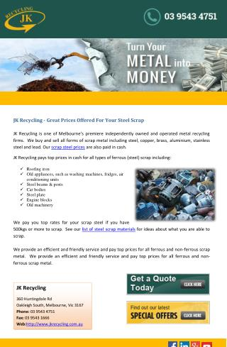 JK Recycling - Great Prices Offered For Your Steel Scrap
