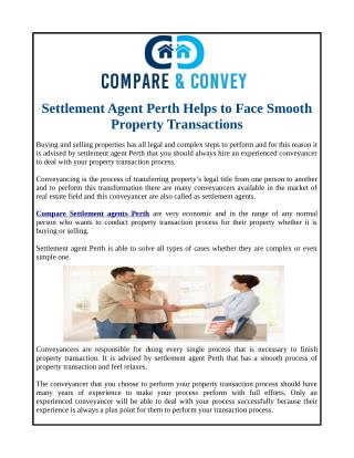 Settlement Agent Perth Helps to Face Smooth Property Transactions