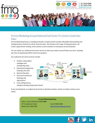 Forrest Marketing Group Outbound Call Centre To Convert Leads Into Sales