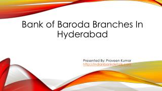 Bank of Baroda In Hyderabad