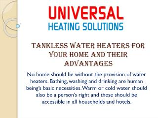 Tankless Water Heaters for your Home and their Advantages