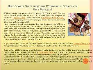 How Cookie Gifts make the Wonderful Corporate Gift Baskets?