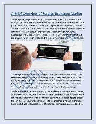 A Brief Overview of Foreign Exchange Market