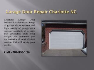 Garage Door service Charlotte NC