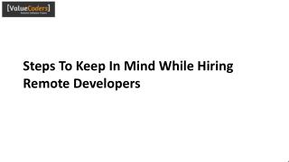 Steps To Keep In Mind While Hiring Remote Developers