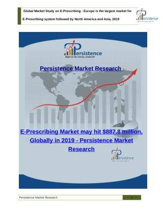 E-Prescribing Market - Industry Size, Share, Trends Analysis and Global Forecast to 2019