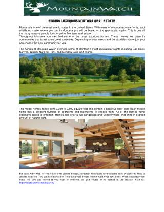 Finding Luxurious Montana Real Estate
