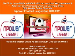 Colchester United vs Bournemouth LIVE STREAM ONLINE TV SHOW