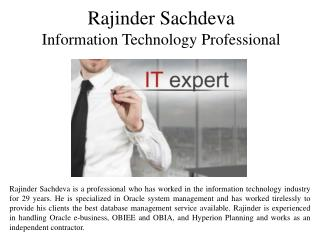 Rajinder Sachdeva - Information Technology Professional