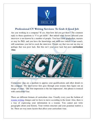 Professional CV Writing Services In India | Best CV Writer