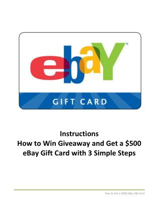 Get a $500 eBay Gift Card with 3 Simple Steps