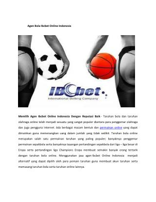 Agen Bola Ibcbet Online Indonesia