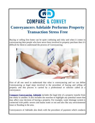 Conveyancers Adelaide Performs Property Transaction Stress Free