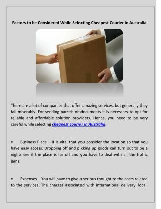 Factors to be Considered While Selecting Cheapest Courier in Australia
