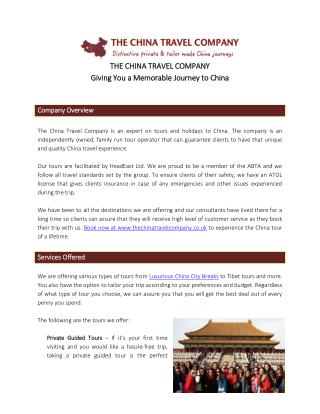 The China Travel Company - Your China Travel