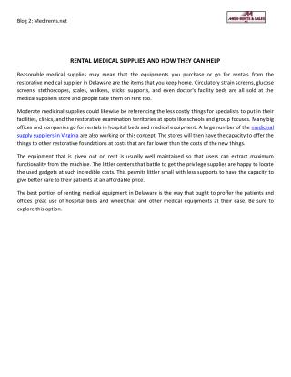 Rental Medical Supplies And How They Can Help