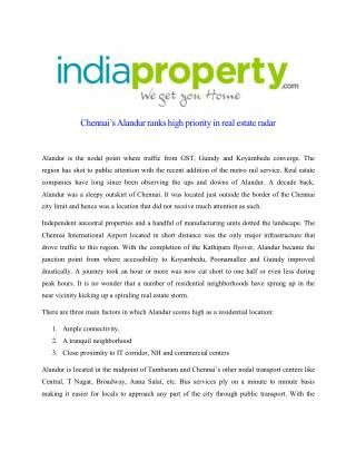 Chennai's Alandur ranks high priority in real estate radar