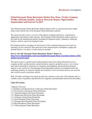 Inorganic Flame Retardants Market Analysis And Segment Forecasts To 2015